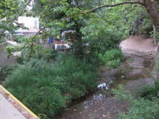 La riera de Vallvidrera, el límit entre les dues zones, voreja la terrassa del restaurant en zona inundable // Jordi Julià