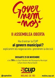 Una assemblea aquest dissabte prendrà la decisió definitiva sobre l'entrada al govern // CUP Molins de Rei