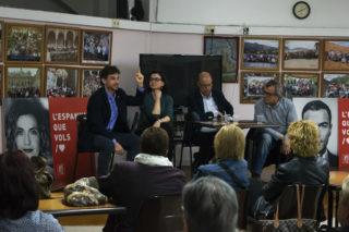 Xavi Paz, Eva Granados, José Zaragoza i Francesc Castellana durant l'acte de campanya al Casal d'Avis Primer de Maig // Clàudia Ferràndiz