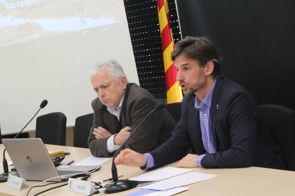 El tresorer d'AMB, Lluís Malavia i l'alcalde de Molins, Xavi Paz, en roda de premsa