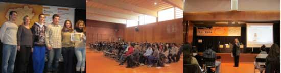 Diverses imatges de la jornada celebrada a l'institut Bernat el Ferrer, amb els guanyadors de l'institut Gabriela Mistral a l'esquerra // Ajuntament de Molins de Rei